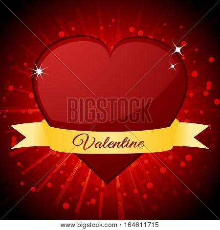 Red Valentine Heart and Banner with Text Over Red Star Burst Background
