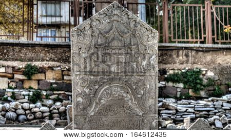 İzmir, Turkey - March 31, 2013: A tombstone from Smyrna, an Ancient Greek city located at Aegean coast of Anatolia, today known as Izmir, Turkey