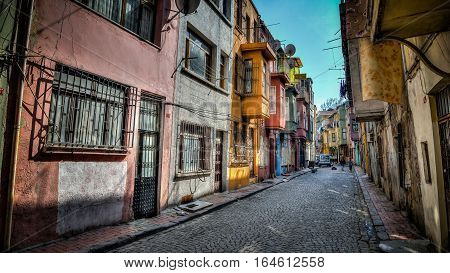 Istanbul, Turkey - March 2, 2013: Traditional architecture on October 22, 2005 in Istanbul. The neighborhood of Fener belongs to the UNESCO World Heritage List due to a wide variety of historical buildings.