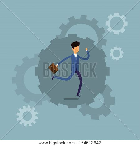 Businessman running and hurry up. Flat design, vector illustration