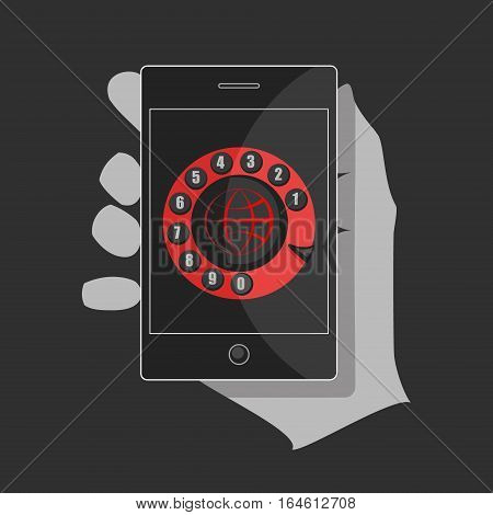Hand holding a black smartphone. In the middle of the dial is a red globe symbol which expresses the idea of the universal use of the phone.