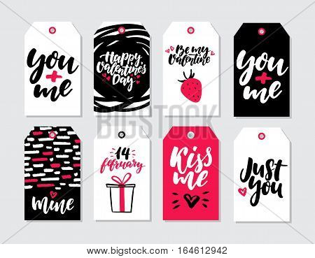 Valentines day gift tag vector set. Collection of hand drawn printable card templates with lettering, texture and love quotes. Modern style black, white and pink holiday label. Cute romantic badges with doodle drawing