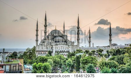 Istanbul, Turkey - July 21, 2013: Blue Mosque (Sultanahmet Cami) in Sultanahmet, Istanbul, Turkey