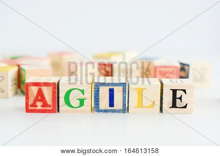 Wooden letter blocks forming the word