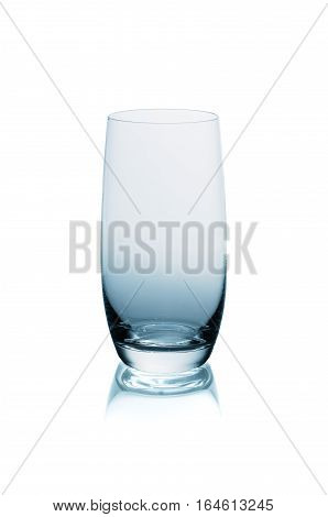 Empty water glass isolated on white background
