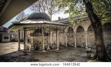 Istanbul, Turkey - April 12, 2014: The fountain of the Kilic Ali Pasa Mosque in Istanbul