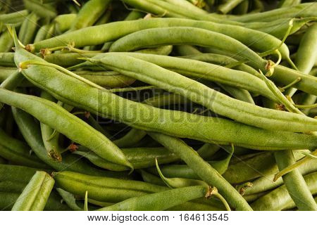 Lots of ripe fresh green french beans background. Closeup image of ideal vegetables, healthy natural organic food