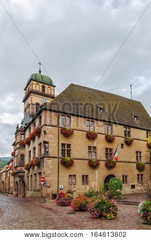 View of City hall of Kaysersberg and church tower Alsace France