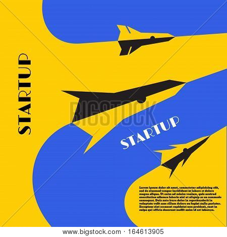 Collection missiles to financial topics. Yellow - blue background. Startup icon flat design. Vector illustration