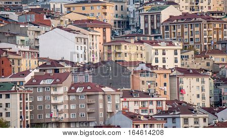 Istanbul, Turkey - November 14, 2016:  View of mass ugly residential houses in Istanbul