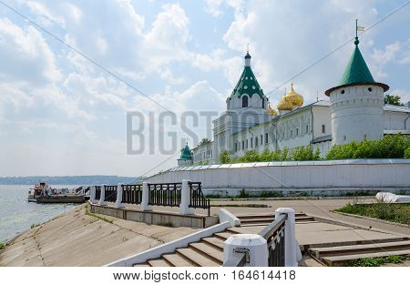 Embankment of Volga River. Holy Trinity Ipatievsky male monastery. Gunpowder and Watermill Tower Gate Church of Chrysanth and Daria (XIX century) Kostroma Golden ring of Russia
