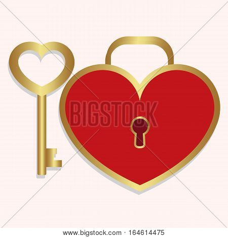 colored icon key and lock heart shaped red with gold on a white background. the template for the festival of Valentine's day or decoration for recognition or wedding. vector illustration