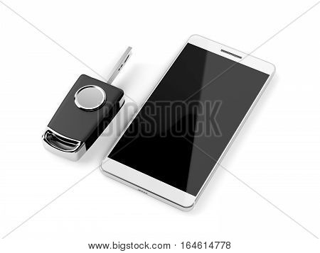 Car key and smartphone on white background, 3D illustration