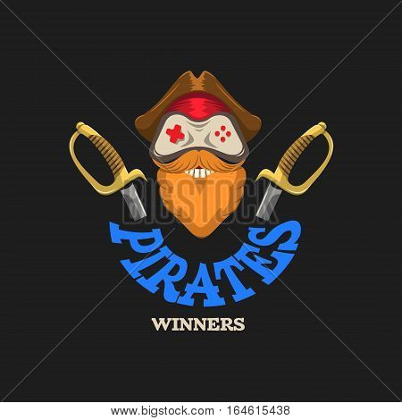 Joystick logo with a red beard and mustaches in pirate hat. Vector illustration isolated on black background