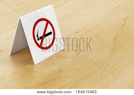 No smoking sign on wooden table in the restaurant or cafe, 3D illustration