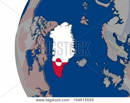 Greenland With National Flag