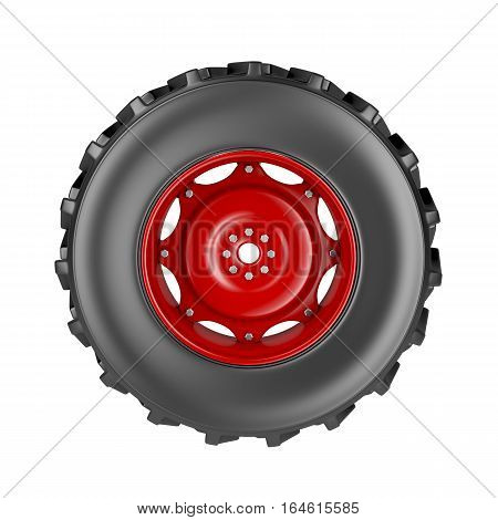 Tractor wheel isolated on white background,  3D illustration