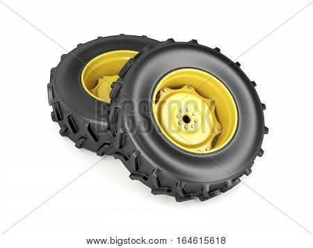Two tractor wheels on white background, 3D illustration