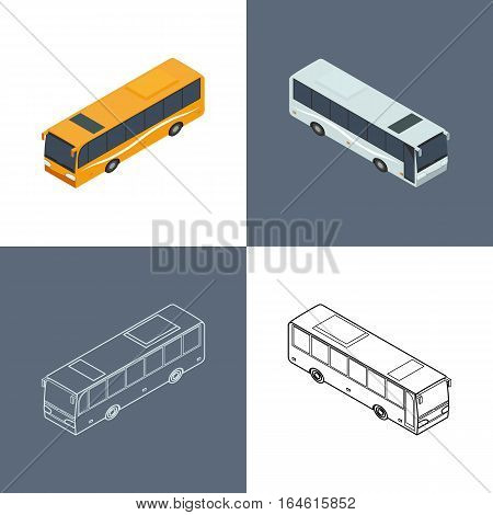 vector illustration. Set of icons of the bus. Color contour outline with a door. Isometric 3D