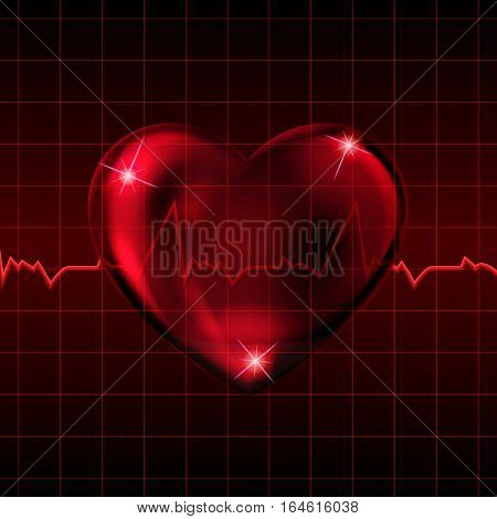Vector illustration. Transparent glass heart on the background of the medical cardiogram. Design for business card banner poster.