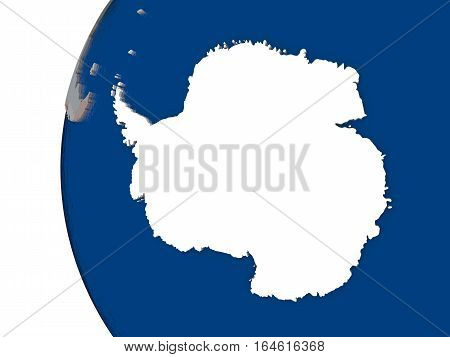 Antarctica With National Flag