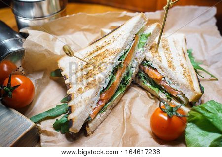sandwich of toasted bread with salmon over vintage backround