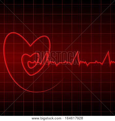 Vector illustration. Cardiogram with red heart outlines on a black background. Design for business card banner brochure medical clinics.
