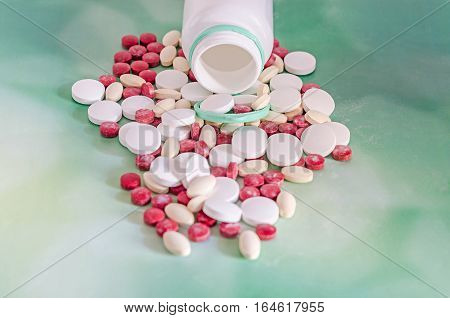 Red, White, Yellow Drugs Pills With White Open Plastic Bottle, Powder, Bunch, Medical, Homeopathic,