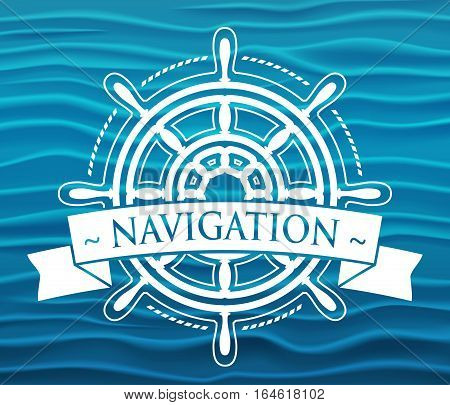 Ship steering wheel corporate logo with banner. Vector illustration.