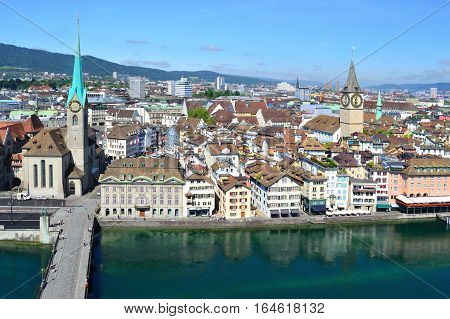 Zurich Switzerland. View of the Old Town and the River Limmat