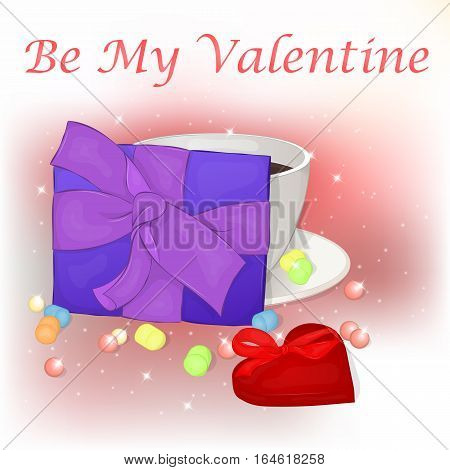 Happy Valentine's Day card with cup of cofee, present and heart. Background for valentine's day. Valentine's Day greeting card in cartoon style. Vector illustration. Holiday Collection.