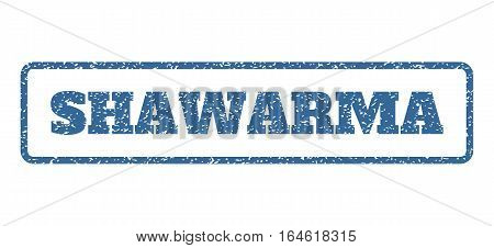 Cobalt Blue rubber seal stamp with Shawarma text. Vector caption inside rounded rectangular frame. Grunge design and scratched texture for watermark labels. Horisontal sticker on a white background.