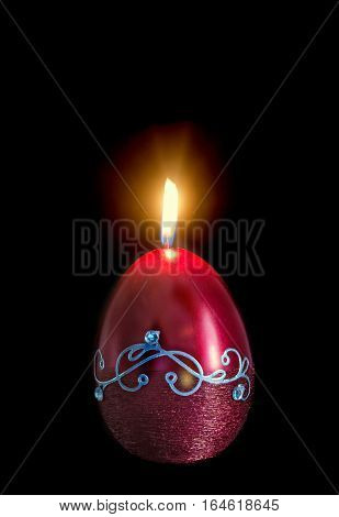 Egg Shape, Oval Easter Candle, Flame, Isolated, Close Up, Dark Background
