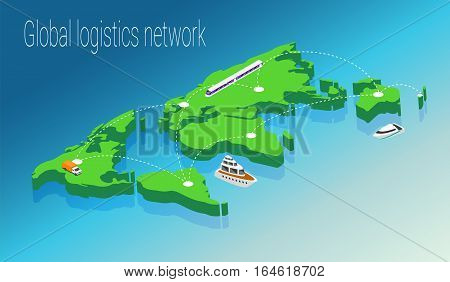 Map world isometric concept. 3d flat illustration of Map world. World map infographics design template