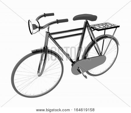 black bike classic on isolated white in 3D render iamge