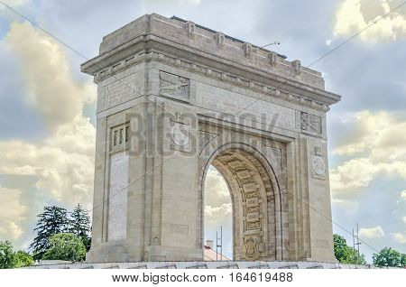 Bucharest, Romania - May 15, 2016. The Triumph Arch, Arcul De Triumf, Outdoor, Restored.