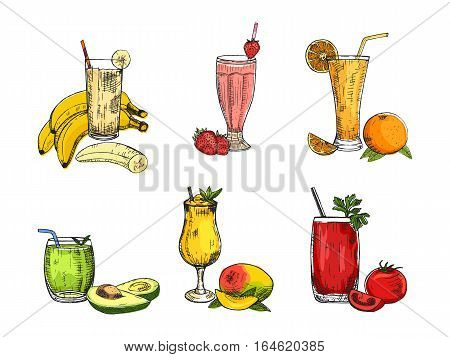Graphic collection of different smoothie. Vector avocado, banana, mango, orange, strawberry, and tomato beverages. Fruity set used for poster, advertising menu or recipe book design.
