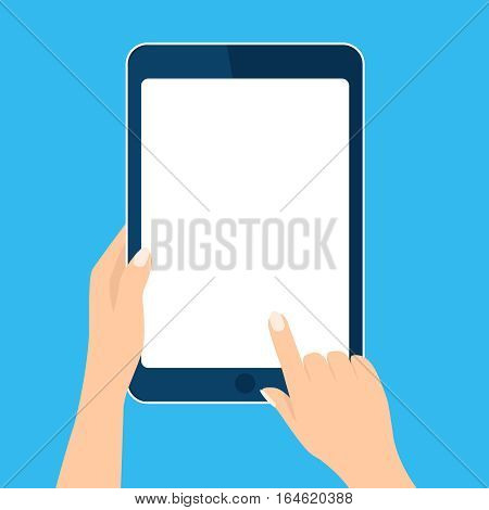 Tablet computer icon. Hand holding and toch device. Template vertical blank white screen, mock up. Sign isolated on blue. Vector cartoon flat illustration for web site, app, UI
