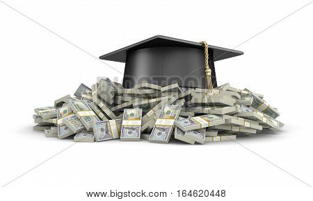 3D Ilustration. Graduation cap and Pile of Dollars. Image with clipping path
