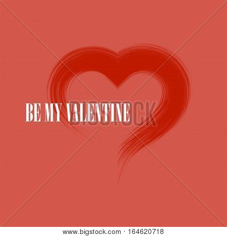 Be My Valentine Romantic Banner with Grunge Heart on Red Background.