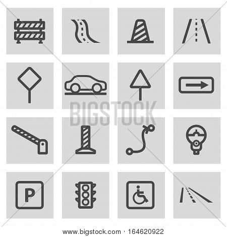 Vector line road icons set on grey background