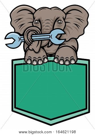 Elephant Carrying Wrench with Its Trunk and Legs on Shield Cartoon Animal Character.