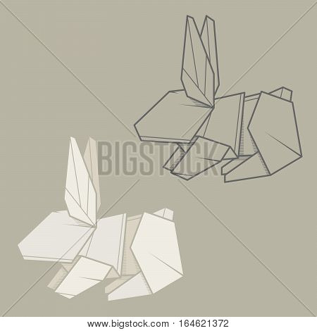 Set vector simple illustration paper origami and contour drawing of rabbit.