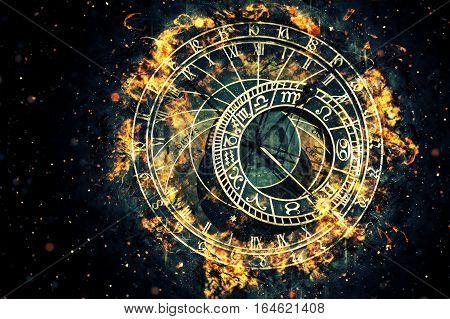 Famous astronomical clock at Prague Czech Republic. Fire illustration.