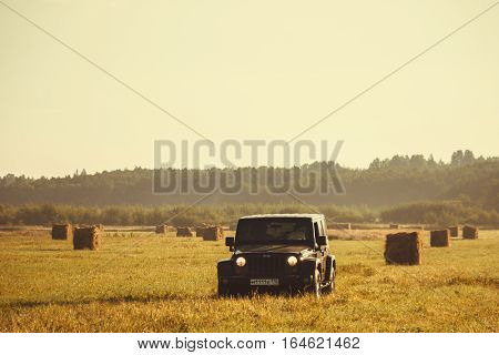 Novgorod oblast, Russia, August 15, 2014, off-road expedition in Karelia on the Jeep Wrangler, the Jeep Wrangler is a compact four wheel drive off road and sport utility vehicle