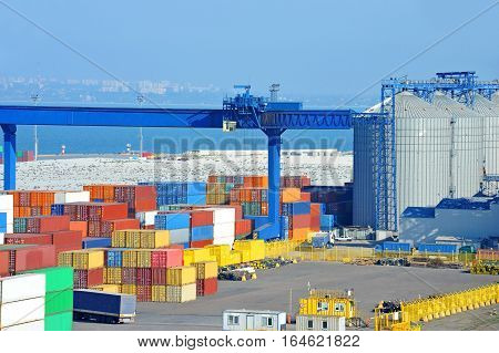 Port Grain Dryer, Crane And Container