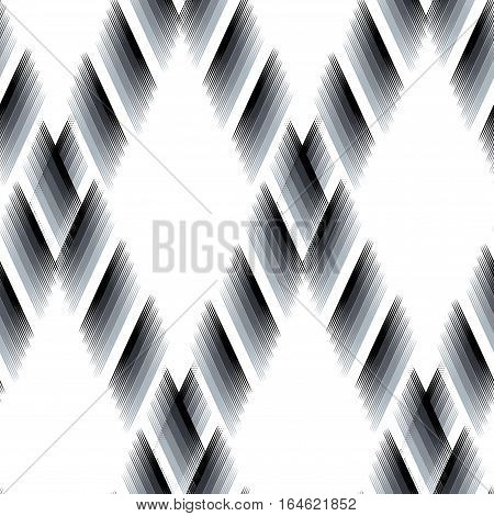 Seamless black and white Ikat Ogee Background Pattern