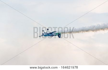 Bucharest, Romania - July 30, 2016. The Lithuanian Pilot Jurgis Kairys With His Colored Airplane Tra
