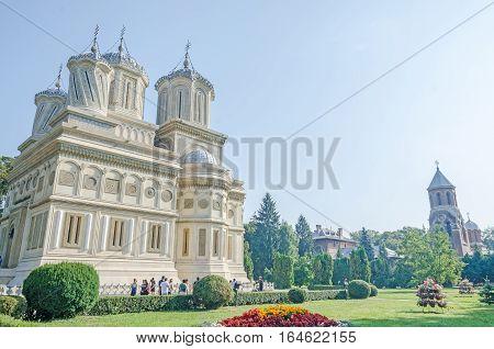 Curtea De Arges, Romania - August 9, 2016: The Monastery