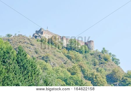 Poenari, Romania - August 9, 2016: Poenari Castle, Known As Poenari Citadel, Ruined Castle In Romani